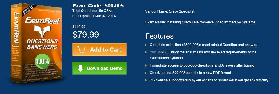 Exam Code: 500-005 Total Questions: 50 Q&As Last Updated: Mar 07, 2014 http://www.examreal.com/500-005.html