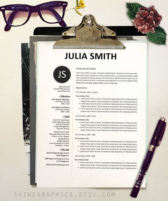 Instant Download  Resume Cv Template Design  Cover Letter