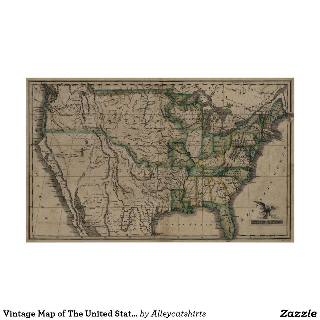 Vintage Map Of The United States Poster Vintage Map - 1823 us map