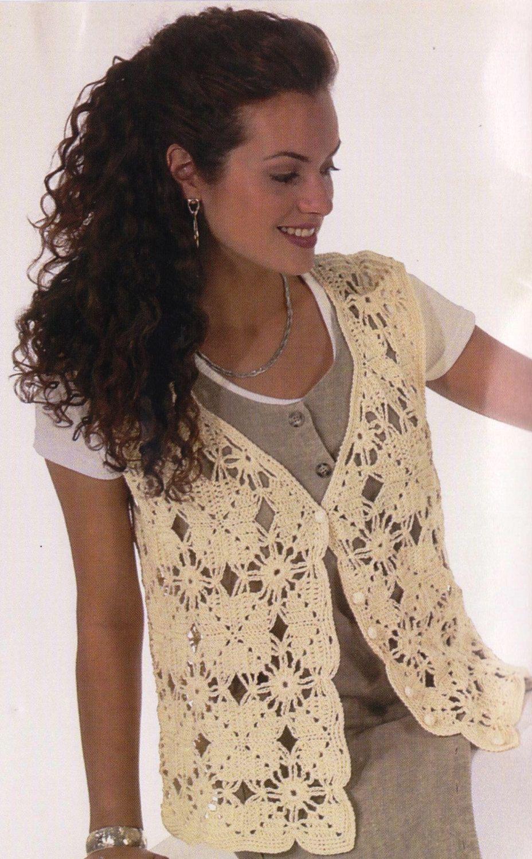 Crochet Motif Vest Pattern, Crochet Vest PATTERN, Womens Ladies ...