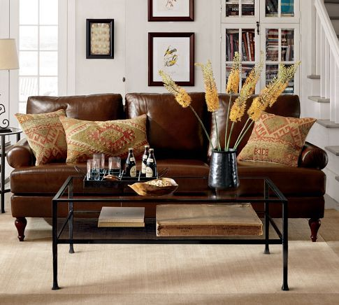 Dark Leather Furniture From Pottery Barn With A Warm Comfortable Feeling.  Pillows