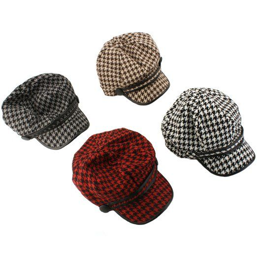66890e7f7a9bf4 Winter Houndstooth Faux Leather 8 Panel Newsboy Cabbie Cap Hat Red Black  57cm+ at Amazon Women's Clothing store: Cabbie Hat Women