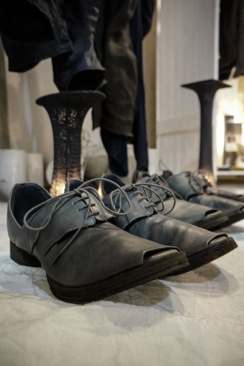 Devoa Leather Sandals - This season's sandals come in a brand new shape which is a bit sharper than the past version. The leather is sourced from Guidi and is available in Charcoal Calf, Reverse Calf and our special edition Purple.