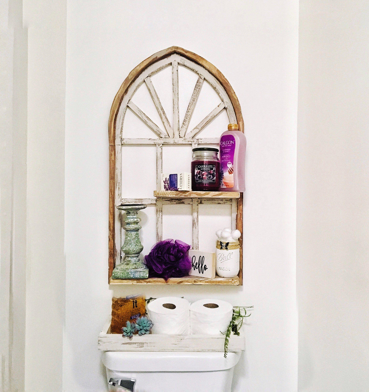 Arch window frame shelf bathroom shelves farmhouse decor