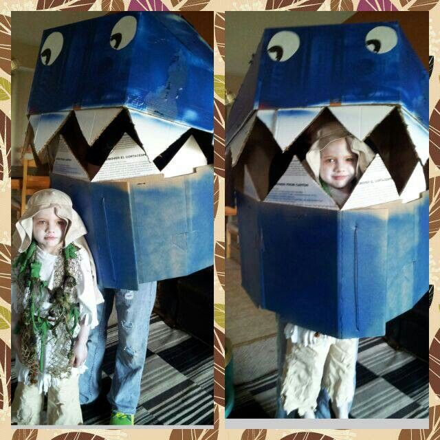 Cardboard Whale Costume Hilarious A Bit Awkward To Carry Around Though Whale Costume Jonah And The Whale Homemade Halloween Costumes