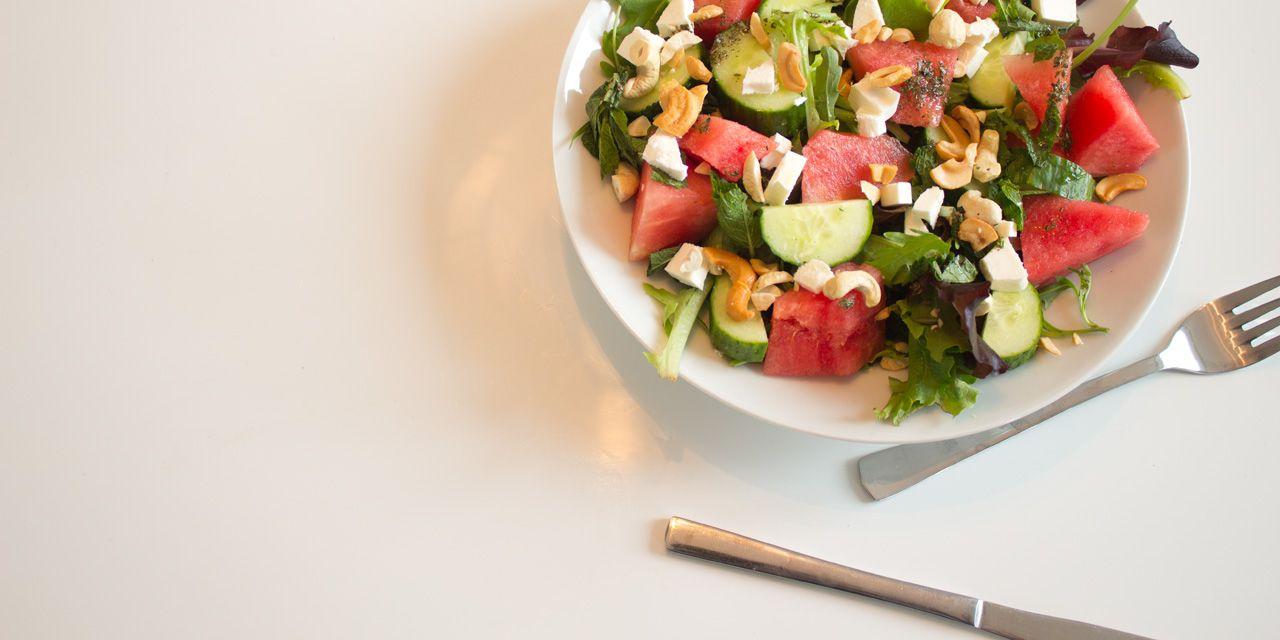 Salade met watermeloen en feta.
