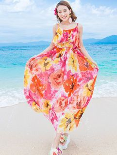 Euro Summer Cool Backless Printing Floral Strap Long Dress