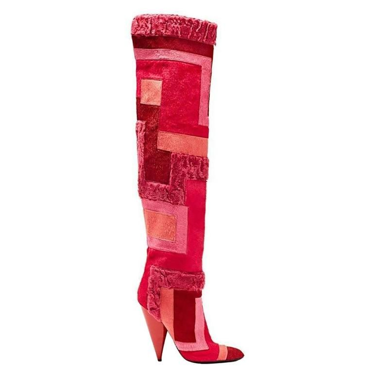 New TOM FORD Geometric Patchwork Fur Over-the-Knee Boots | From a collection of rare vintage shoes at https://www.1stdibs.com/fashion/clothing/shoes/