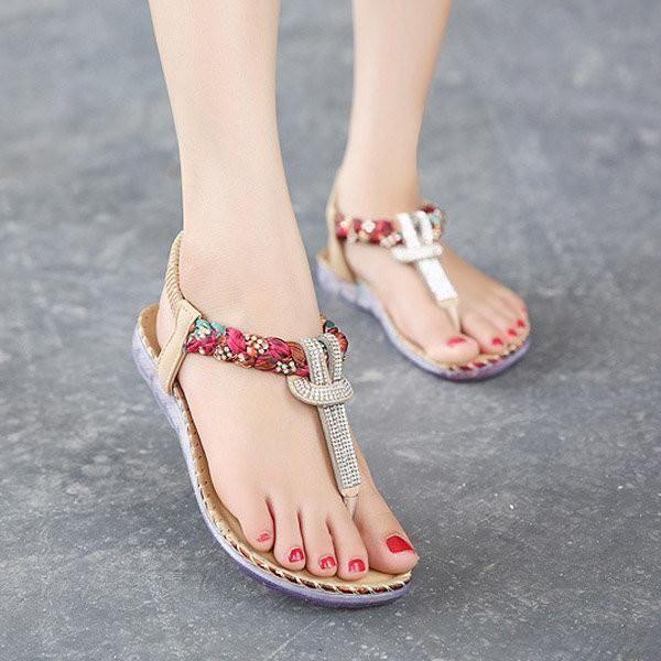 Bohemian Bead Floral Elastic Clip Toe T Strap Slip On Flat