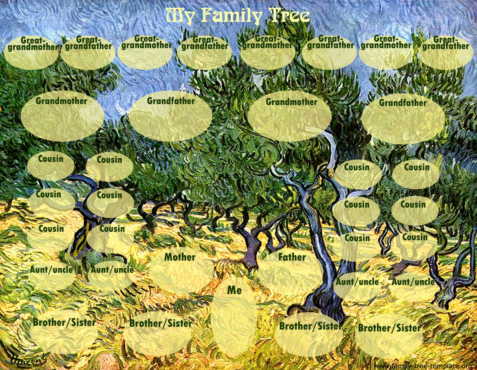 Van Gogh Family Tree With Space For Siblings Cousins Aunts And Uncles