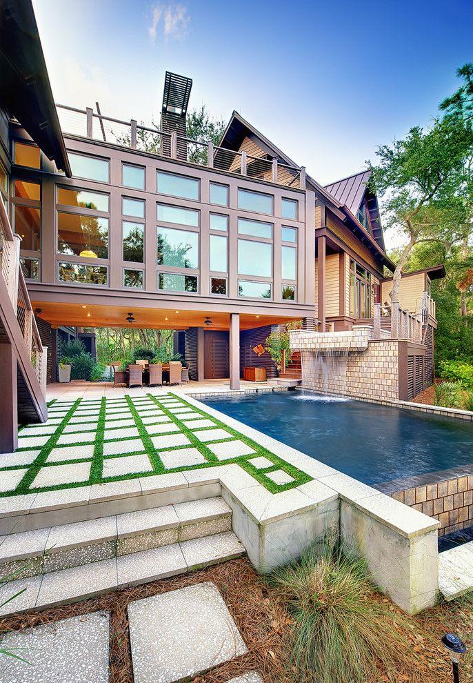 garten-pool-außenbereich-innenhof-wasserfall-deko Deco - wasserfall im garten modern