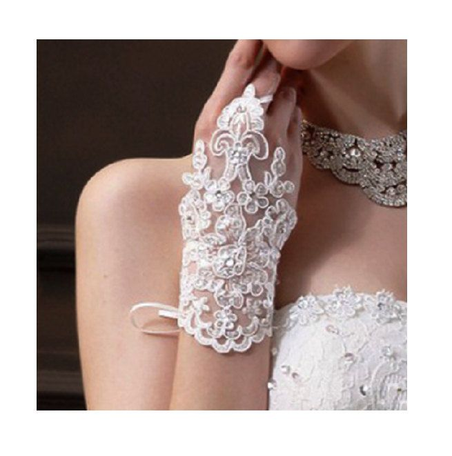 Creamy White Bridal Gloves, Lace Wrist Gloves, Fingerless Glove, Cuff wedding Bridal Gloves, Wedding Accessories by SpecialTouchBridal on Etsy