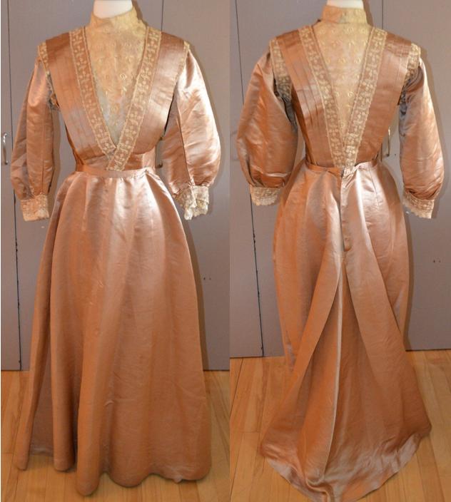 "Peach Silk Edwardian Dress, circa 1905 via eBay | Measurements: 34"" bust 25"" waist Materials: Peach silk and lace Details: V neckline front and back, lace trim, pleats/tucks, full 3/4 sleeves"