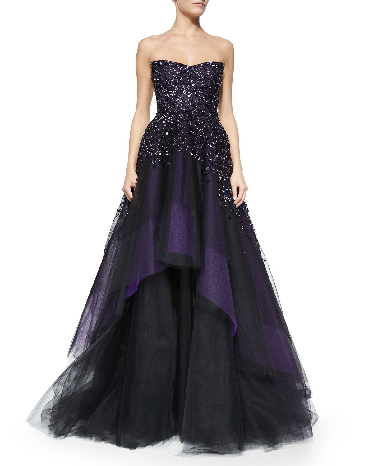 Strapless Degrade Embroidered Ball Gown, Plum by Monique Lhuillier ...