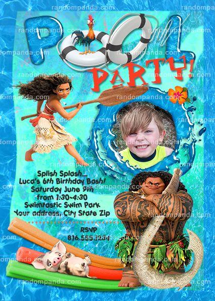 Personalize Moana Invitation Maui Pool Party Birthday Invite