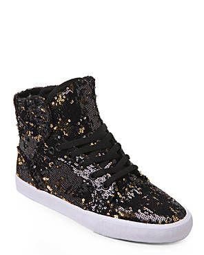 SUPRA Black & Gold Skytop Sequin Sneakers