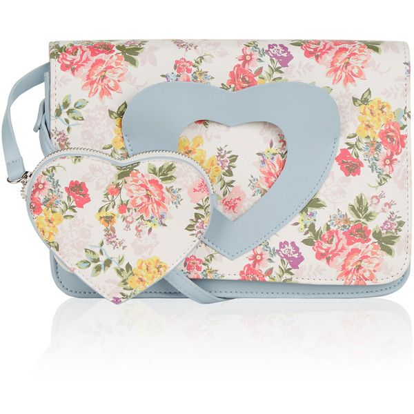 Monsoon I Love My Floral Satchel Bag (250 MAD) ❤ liked on Polyvore featuring bags, handbags, handbag purse, satchel purses, crossbody handbags, man bag and handbags crossbody