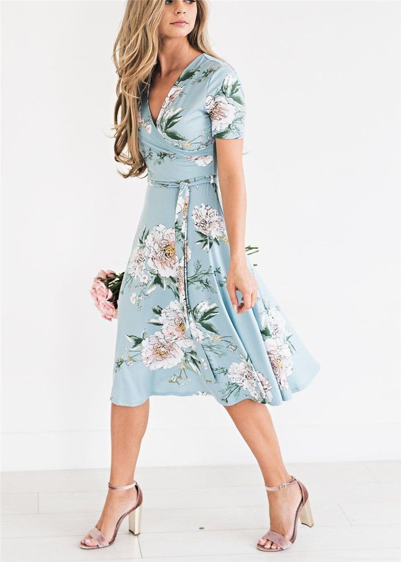09aa11638e2bd Women Floral Print Short Sleeve Dress Ladies Boho Long Maxi Summer ...