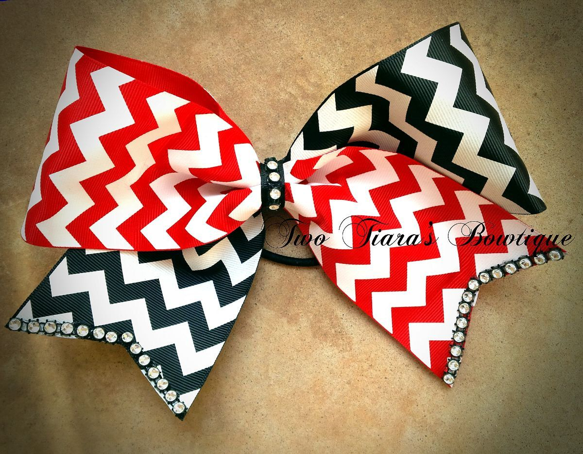 Cheer bow holder for cheer bows and hair bows cheer bow hanger - Chevron Red Black Tick Tock Bling Cheer Bow 3 Ribbon Team Discounts By Two Tiara S Cheerleading Bowsvolleyball