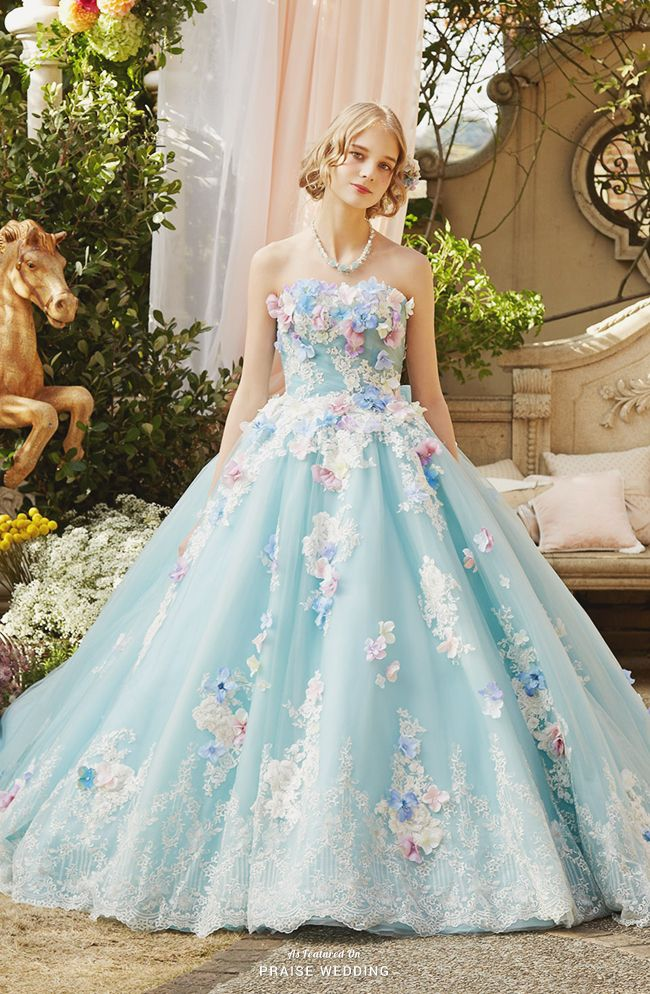 This baby blue ball gown from Nicole collection featuring pastel 3D ...