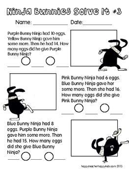 Ninja Bunnies on the Loose! FREE PROBLEM SOLVING   Spring & Bunnies ...