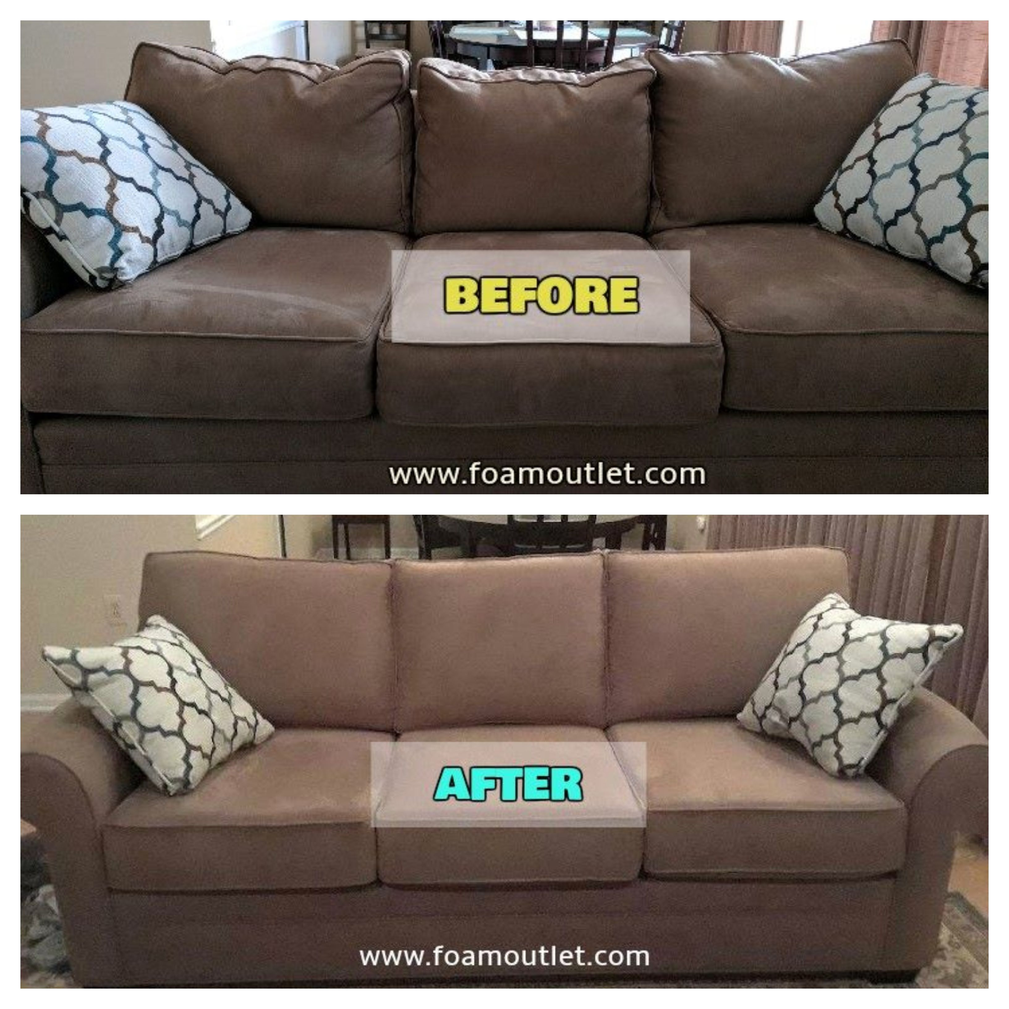 Let The Foam Outlet Help You Rescue Your Old Couch Or Love Seat In 2020 Foam Sofa Cushions On Sofa Couch Cushion Foam