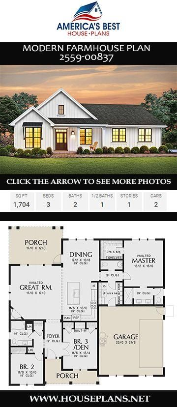 #modernfarmhouse  #onestoryhome  #houseplans  #architecture  #newhome  #newconstruction  #newhouse  #home  #floorplans  #floorplan  #homebuild  #buildahome  #blueprints  #buildingahome  #homebuilding #2559-00837 #highlights Plan 2559-00837 highlights a 3-bedroom Modern Farmhouse complete with 1,704 sq. ft., 2 bathrooms, a kitchen island, an open floor concept, vaulted ceilings, and a 2 car garage.