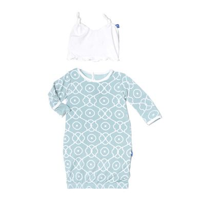 383621678 KicKee Pants Girls Layette Gown   Knot Hat Set