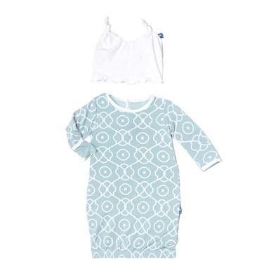 81d6e134c2c KicKee Pants Girls Layette Gown   Knot Hat Set