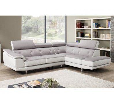 impressionnant canapé d angle cuir et tissu