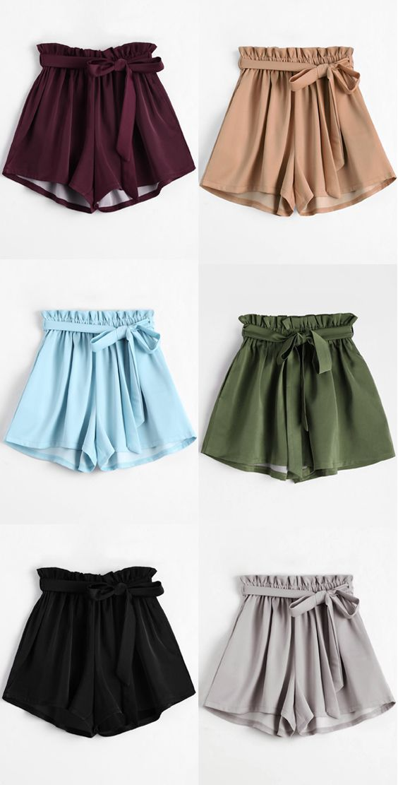 47fad2da3bb Up to 70% OFF! Smocked Belted High Waisted Shorts. Zaful
