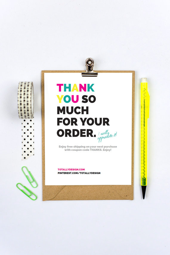 Thank You for Your Purchase Cards INSTANT DOWNLOAD - Cheerfully - business thank you card template
