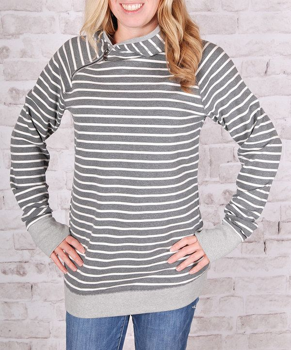 Look at this Olivia & Jane Charcoal Stripe Side-Zip Cowl Neck Sweatshirt on #zulily today!