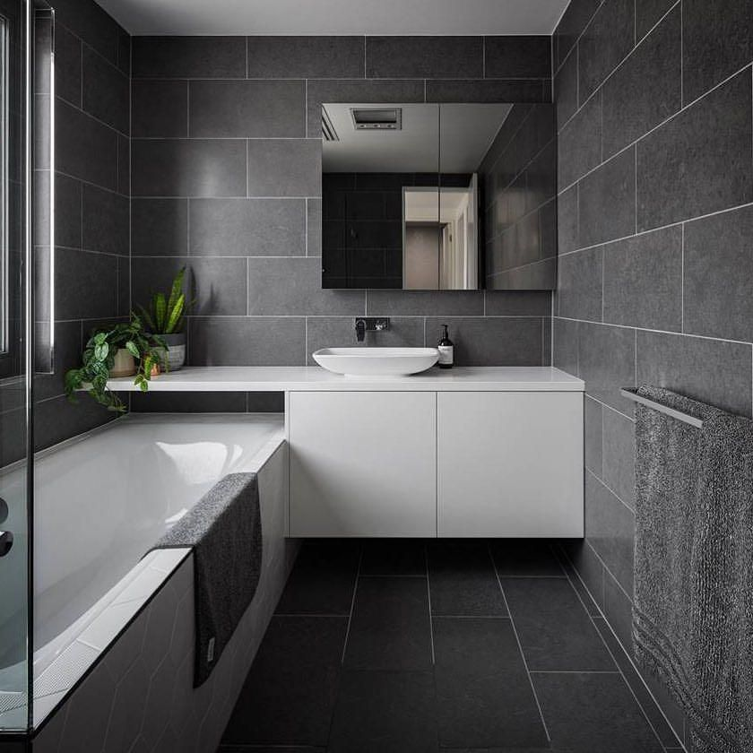 The Dept Of Design Canberra A Residential Bathroom Interior Featuring One Of Our Charcoal Tiles With G Bathroom Interior Trendy Bathroom Tiles Tile Bathroom