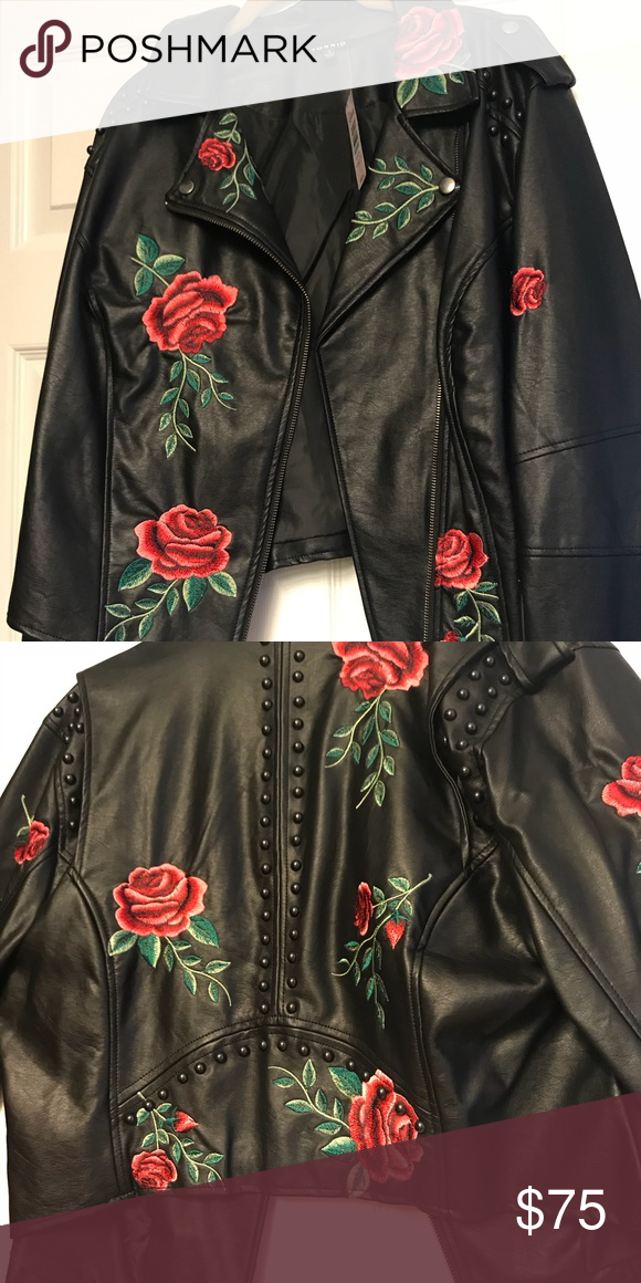 a9a4447767f5a NWT Torrid brand Rose and studded jacket NWT Torrid brand faux leather  black jacket. Rose embroidered with black studding size 1 in Torrid which  equals 1X ...