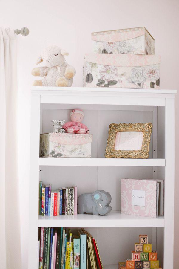 Emmaline's Soft, Pretty Nursery   The Little Umbrella ...  Pink And Grey Bookcase