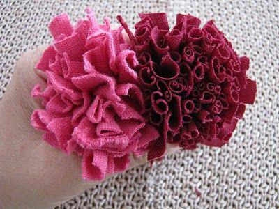 Fabric Carnation Tutorial Yarn Flowers Fabric Flowers Fabric
