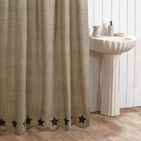 Monroe Ashton Willow Khaki Green Tan Primitive Bath Rod Pocket Cotton Button Holes For Shower Hooks Appliqued Star Shower Curtain Products In 2019 Shower