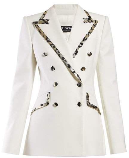 cd42b617 Dolce & Gabbana Leopard Print Trim Double Breasted Crepe Blazer - Womens -  White