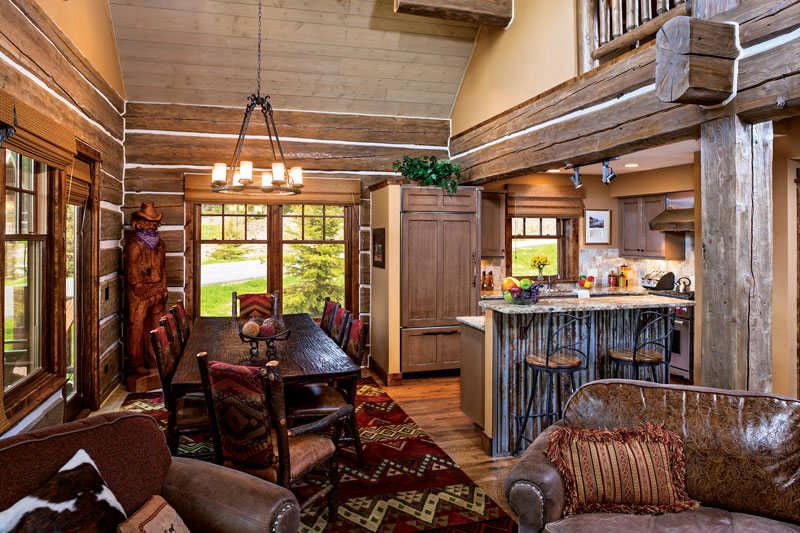 One Room Log Cabins Of Living Room Sets With Distressed Leather Sectional  Couch Also Santa Cecilia Granite Countertop For Small Kitchen Island Also  Log Home ...