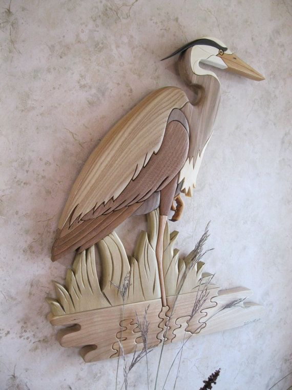 Great Blue Heron V  Intarsia carved cabin decor a by RAKOWOODS