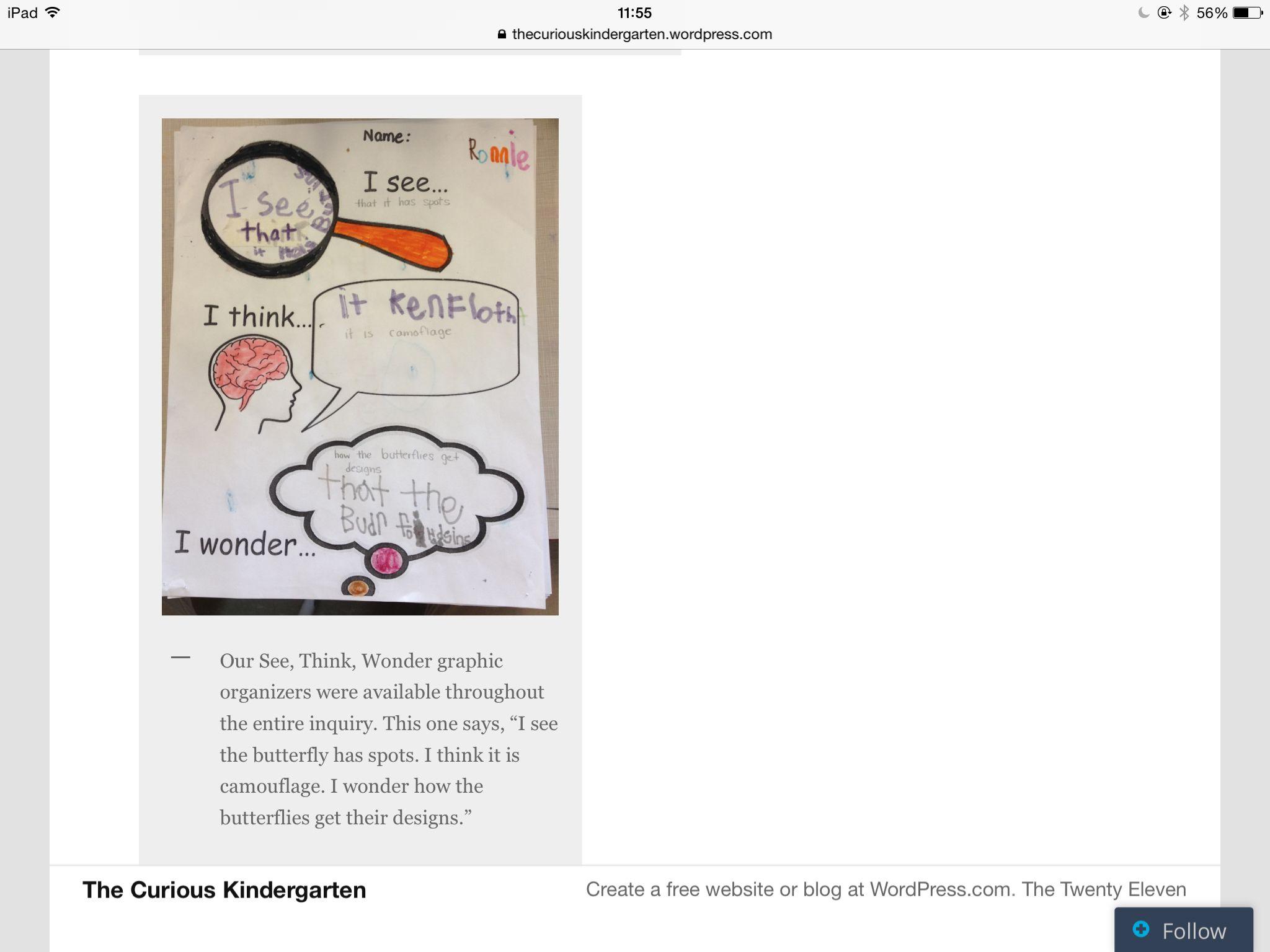 I See I Think I Wonder Curious Kindergarten With