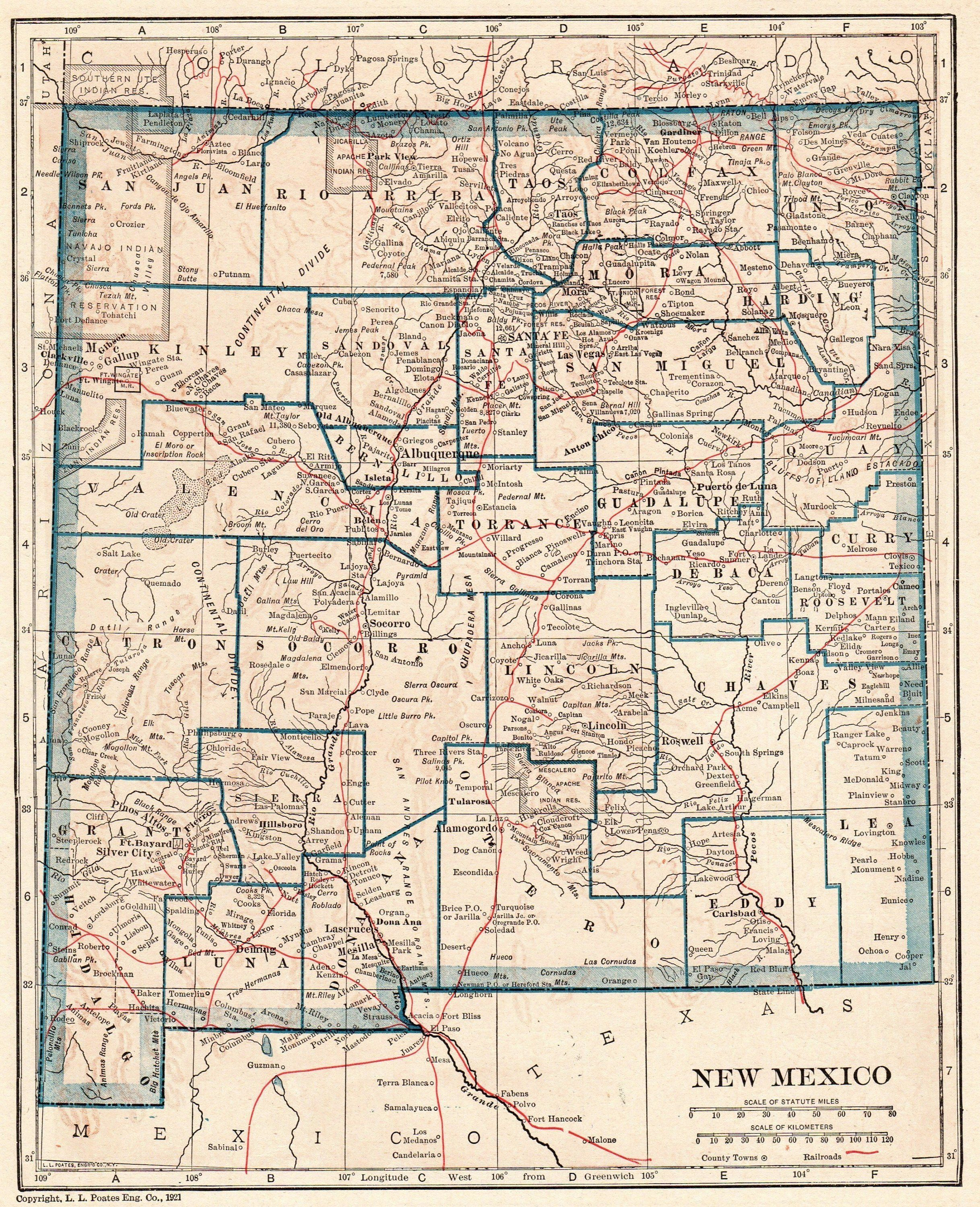 1921 Vintage NEW MEXICO State MAP Antique Map of New Mexico Gallery ...