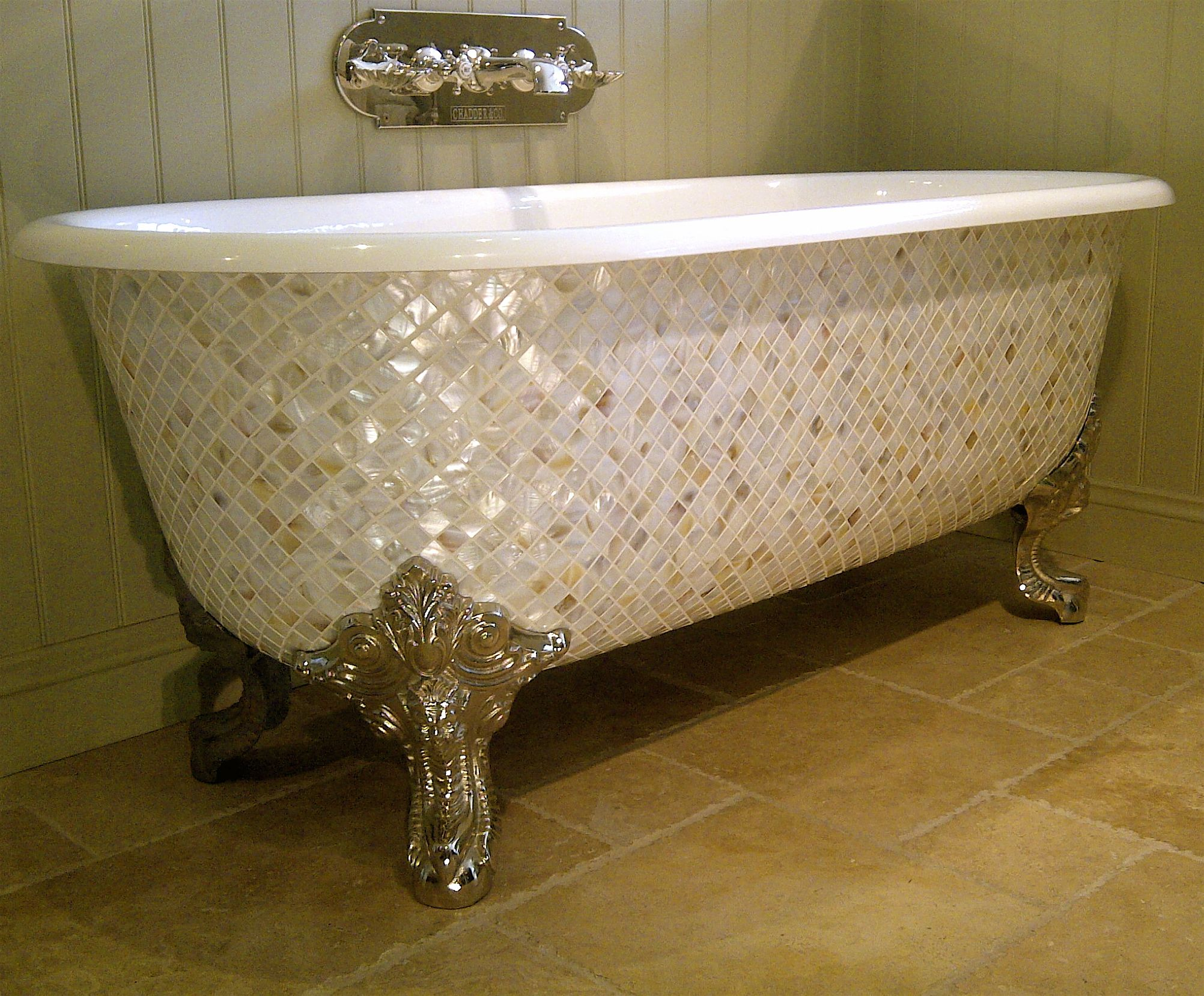 Mother of Pearl Mosaic Claw Foot Tub Stunning!!! | Dream Home ...