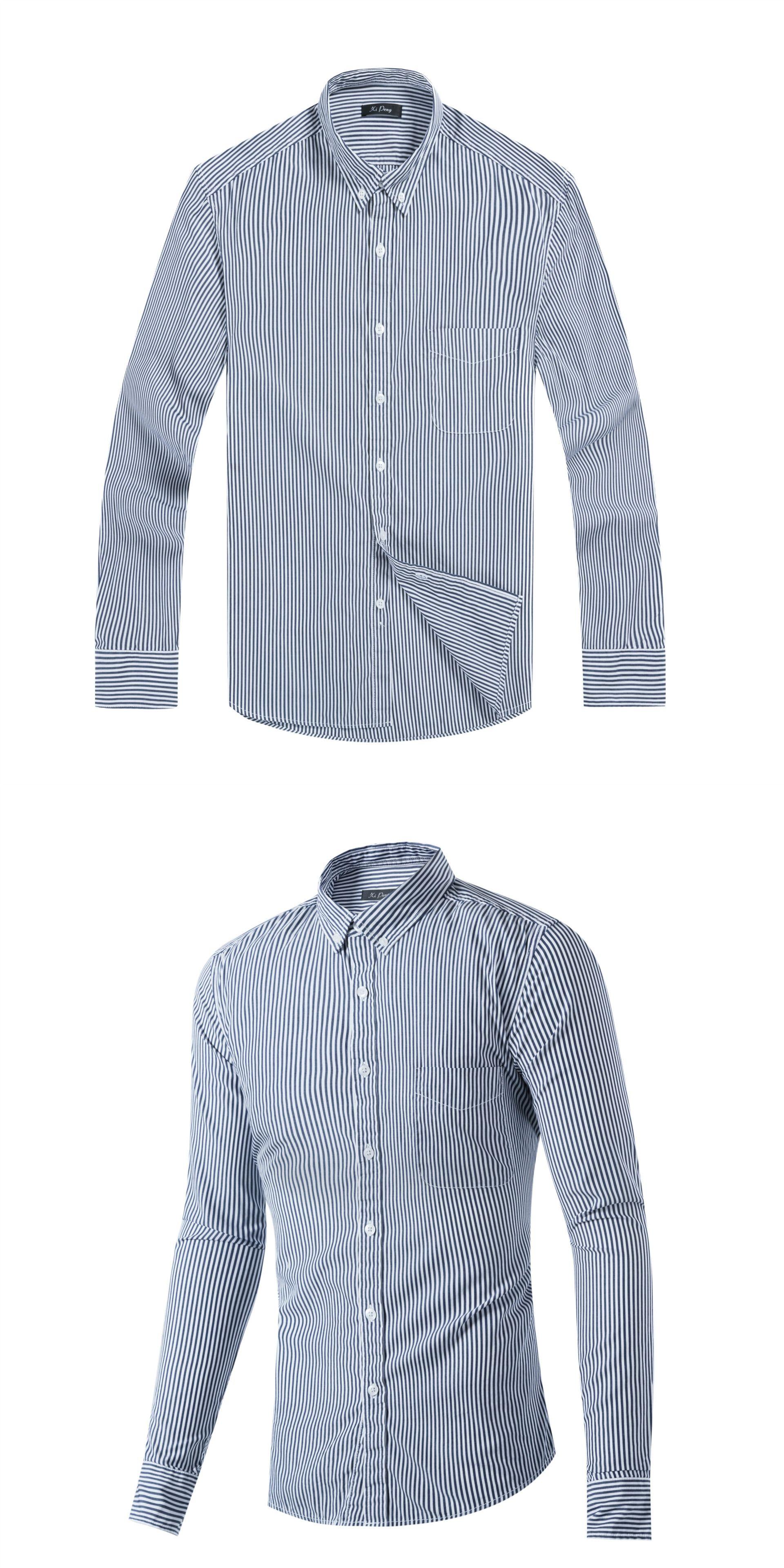 06d1e242db9f 2017 New Men Striped Shirt Long Sleeve Casual Cotton Male Shirt Slim Fit  Business Dress Shirts