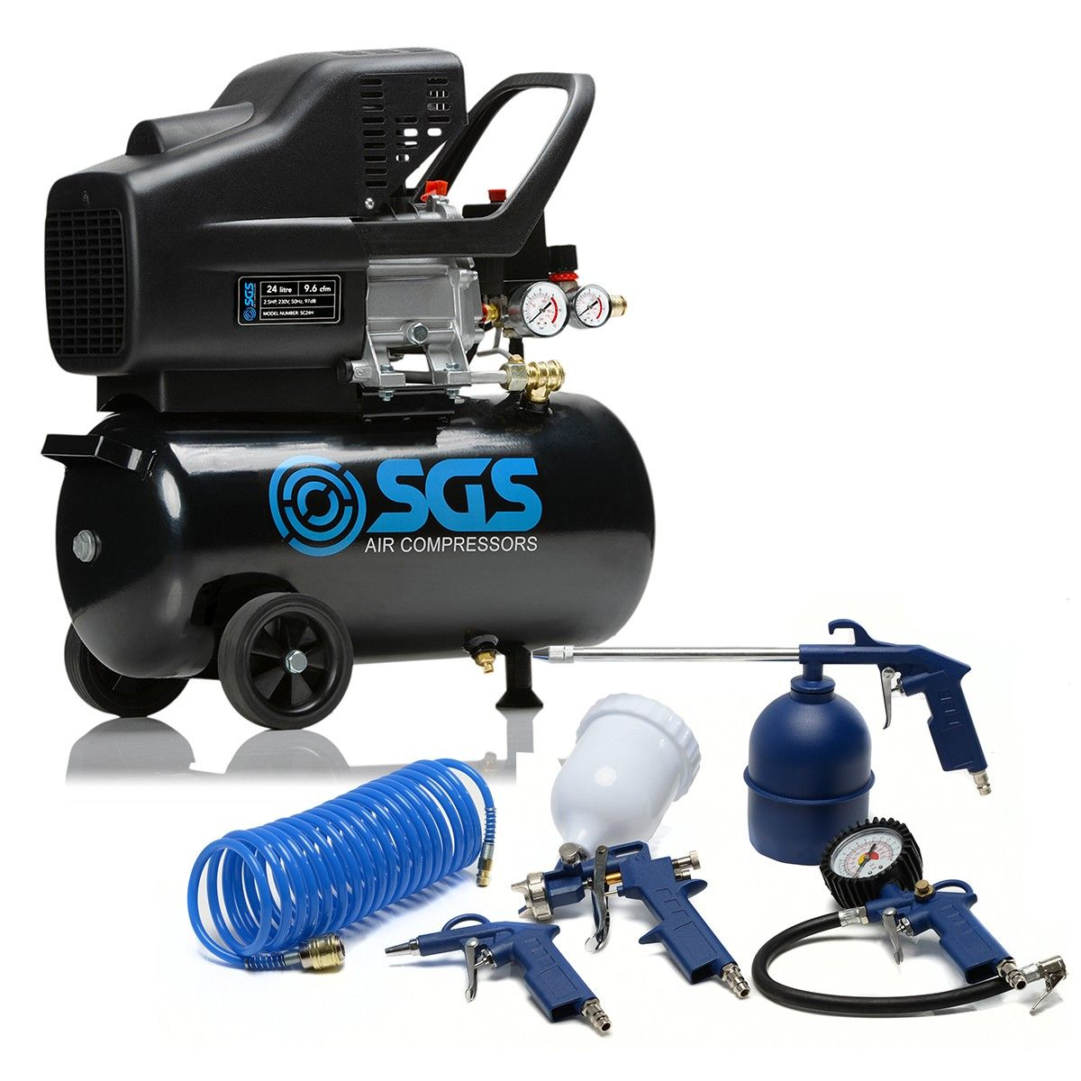 SGS 24 Litre Direct Drive Air Compressor & 5 Piece Tool