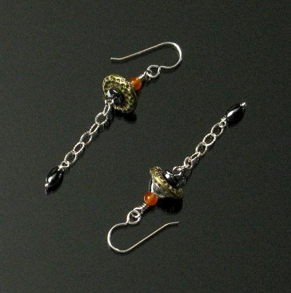 Brass Silver and Hematite Earrings   Drop by mindfulmatters