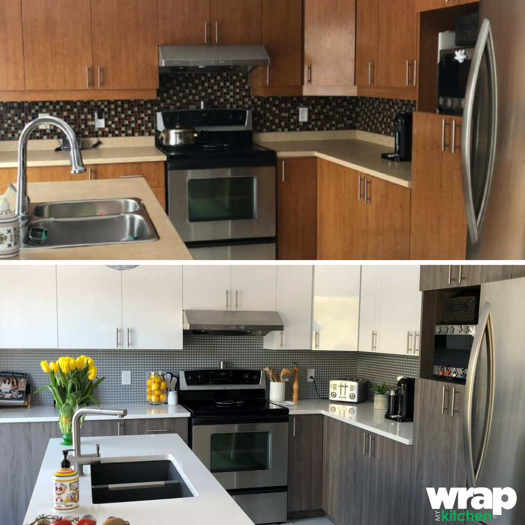 Before and after! Kitchen remold made easy with Wrap My ...