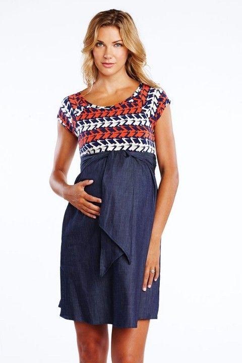 Stork Dress! Maternal America // Maternal America Orange and Denim Stork Print Dress