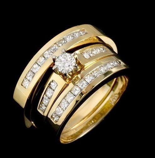 Diamonds And Gemstones 92909 10K Yellow Gold Over Diamond Trio Set Matching Engagement Ring Wedding